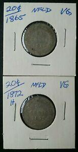 1865 and 1872 Newfoundland 20c Silver Twenty Cent Pieces