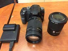 Sony Alpha a100 10.2MP Digital SLR Camera- Black w/ 18-70mm & 75-300 lens