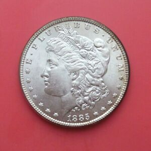 1885 MORGAN SILVER DOLLAR, UN CERTIFIED, CIRCULATED, LT EDGE TONING, BRIGHT