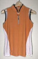 Izod Womens Tank Top Small Orange Golf Top Sleeveless Front Zipper