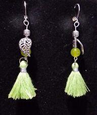 Silver Leaf & Green Peridot Gemstone Dangle Earrings Silver Lever Back Findings