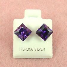 Amethyst Cz Stud Earrings (Se317) Sterling Silver - 8mm Square