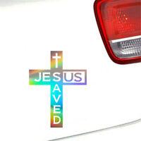 Jesus Saved Us Cross Vinyl Decal Sticker Car Window Door Laptop Bumper Decor