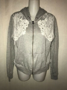 MISS ME GRAY & WHITE LACE HOODIE SIZE LARGE