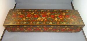 19th Century Papier Mache Lacquer Glove Box, Kashmir Jubbar Khan