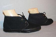5.5 NOS Vtg 70s FLAT ANKLE BOOTIE LaCrosse BLACK VEGAN SUEDE BOHO Boot Shoe