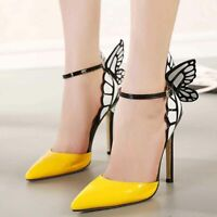 Sexy Women Butterfly Wing Pointy Toe High Heel Sandals Wedding Party Pump Shoes
