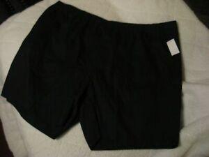 Womens Plus Size Black Denim Shorts Pull-On Elastic Comfort Stretch Waist