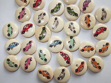 30 x 15MM CAR PATTERNED 2 HOLE WOODEN, SEWING BUTTONS, CRAFT ETC.,