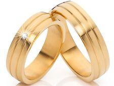 2 Anillos De Bodas Diamante Alianzas Compromiso 18 quilates dorado & Grabado