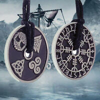 Helm of awe Compass Norse Viking Nordic Coin Pewter Necklace Pendant Necklace