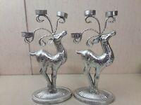 Silver Tone Christmas Reindeer Tealight Holders