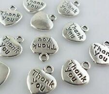 "30pcs Tibetan Silver 11x12mm ""Thank You"" Charms Heart Crafts Pendants Beads"