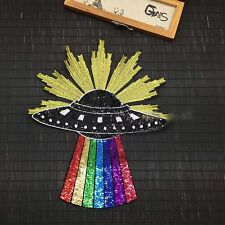 Rainbow Rays UFO Planet Spaceship DIY Fashion Sequin Embroidered Iron On Patch