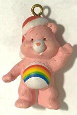 Rainbow Cheer Care Bear In Santa Claus Hat ~ Christmas Ornament / Pendant Charm