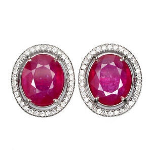 Oval Red Ruby 10x8mm Cz 14K White Gold Plate 925 Sterling Silver Earrings