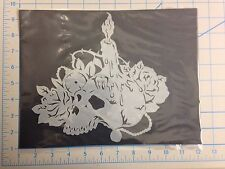 Skull Candle Rose mylar reusable stencil 10 mils for Airbrush design art & craft