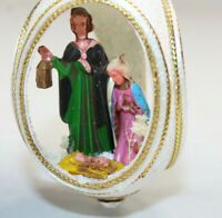 Vintage Handmade Nativity Panorama Egg Beaded Christmas Ornament Manger Diorama