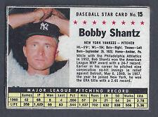1961 Post Cereal Handcut #15 Bobby Shantz New York Yankees VG-EX