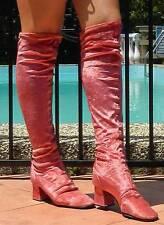 VINTAGE Rock Glam 1960s-70s Original RARE Boho Pink Velvet Retro Boots Siiz 9