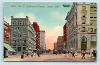 Omaha, NE - NICE EARLY 1900s 16TH STREET SCENE - TROLLEYS - UNUSED POSTCARD - W3