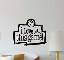 I Love This Game Wall Decal NBA Quote Basketball Gift Vinyl Sticker Poster 558