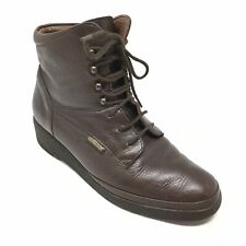 Women's Mephisto Air Jet Wedge Combat Boots Shoes Size 7.5M Brown Leather AC1