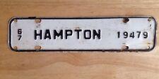 1967 HAMPTON, VA, VIRGINIA LICENSE PLATE TOPPER, CITY TAX, STEEL, VINTAGE