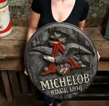 Rustic Wood-like Vintage Michelob Beer Since 1896 Flying Eagle Plastic Sign