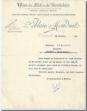 Letter - LEBLANC & MONDUIT Wines of / the Midi & of / the Bordeaux à Evreux 1911