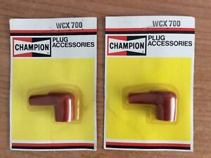 2 New Old Stock Red Vintage Champion WCX 700 spark plug caps (PW)