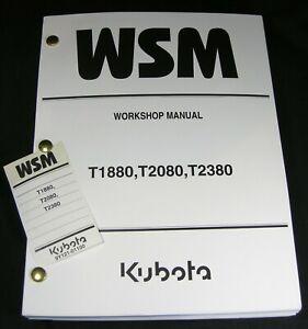 Kubota T1880 T2080 T2380 Lawn Tractor Mower Workshop Service Repair Manual Book