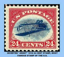 COPY OF U.S. JENNY STAMP,  24 CENT INVERTED 1918 - THE MOST FAMOUS U.S. STAMP