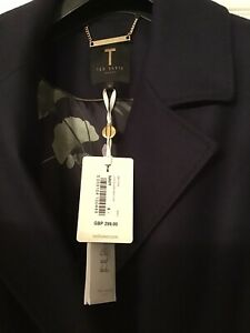 TED BAKER COAT NEW WITH TAGS SIZE 5 NAVY MIDI