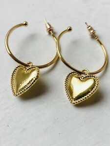 BOHO HEART CHARM Earrings Gold Plated Metal Hoop Size 1.7 x 1.7 cms
