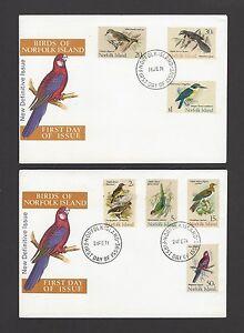 Norfolk Island 1971 Birds 7v on 2 FDCs