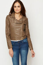 Women soft thin leather biker jacket blue nude beige grey zip blazer 10 12 14 16