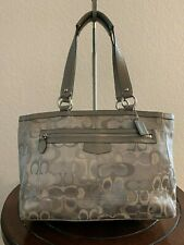 COACH Signature Optic C Gray Jacquard Carry-all Tote Shoulder Purse Bag F15121
