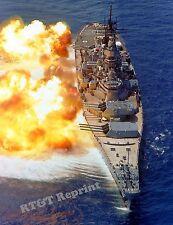 Photograph Navy Battleship Guns Firing  USS IOWA (BB-61)  Year 1984 8x10