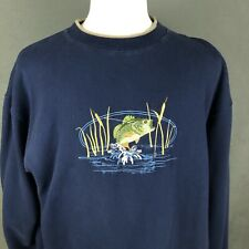 Bass Fishing Embroidered Sweatshirt VTG 80s Heavy Double Collar Angler Fish XL