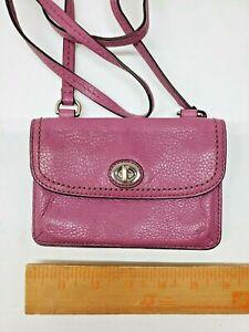 Coach Purple Pink Leather Wallet Strap Detachable Clutch Turn Lock Purse