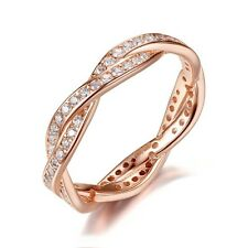 ROSE GOLD WIST OF FATE BRAIDED PAVE  STACKING RING GENUINE CZ  SALE SIZE 54