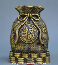 Chinese fengshui old Bronze money bag Fortune bag money-box wealth statue