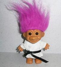 "Russ KARATE MARTIAL ARTS TROLL 4"" Magenta Hair In Original Outfit *NICE"