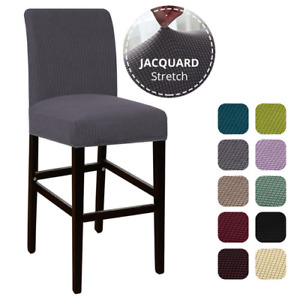 Jacquard Bar Stool Chair Cover Short Back Dining Chair Slipcover Spandex Stretch