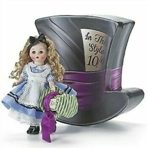 """New Madame Alexander #69815 8"""" Alice's Mad Adventures in Hat Shaped Box -Retired"""
