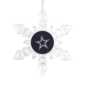 Dallas Cowboys Christmas Tree Holiday Ornament New - Light Up Snowflake