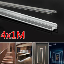 4x 1M Aluminium Channel Alloy Profile Bar Track for LED Strip Lights Cabinet NEW