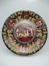 Vintage Chinese Hand Painted Gold Gilt Porcelain Plate Dragon Draw Chariot Angel