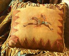 """Deerskin Suede Leather FRINGE PILLOW CAYUSE INDIAN PONY RIDER 16"""" X 16"""" Handmade"""